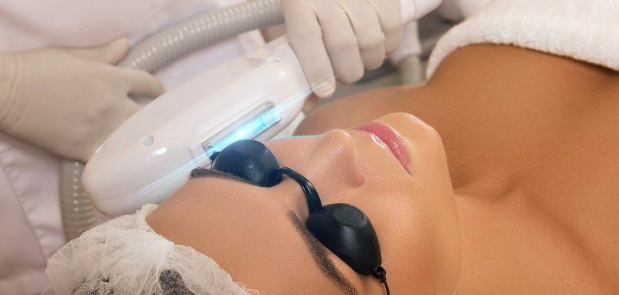 female patient receiving photo rejuvenation treatment