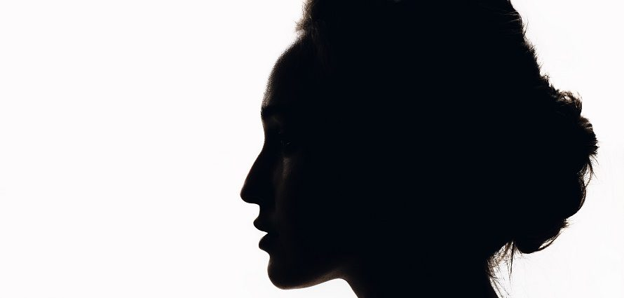 silhouette of a female head